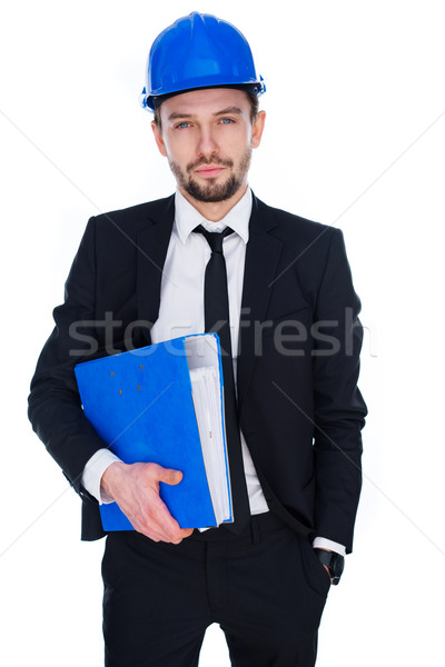 Architect or structural engineer wearing a hardhat Stock photo © stryjek
