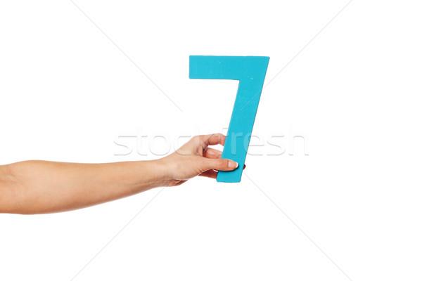 Hand aantal zeven vrouwelijke witte Stockfoto © stryjek