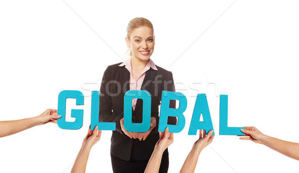 Attractive woman with the word GLOBAL Stock photo © stryjek