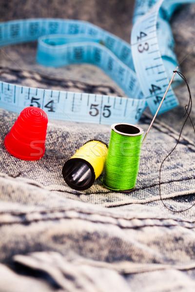 Naald katoen tape denim doek twee Stockfoto © stryjek