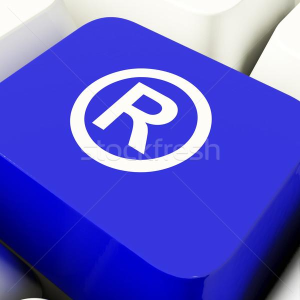 Geregistreerd computer sleutel Blauw tonen octrooi Stockfoto © stuartmiles