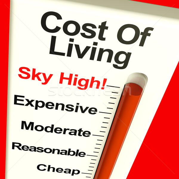 Cost Of Living Expenses Sky High Monitor Showing Increasing Cost Stock photo © stuartmiles