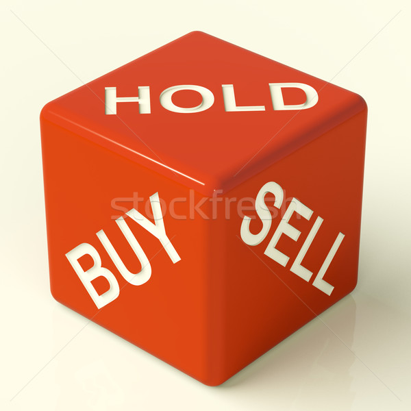 Stock photo: Buy Hold And Sell Dice Representing Stocks Strategy