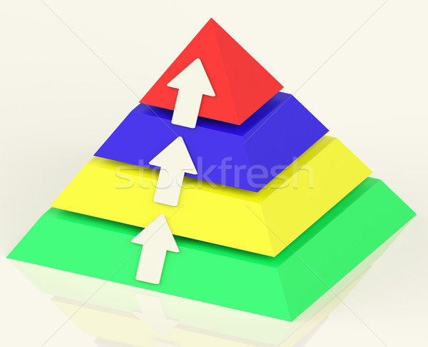 Stock photo: Pyramid With Up Arrows Showing Growth Or Progress