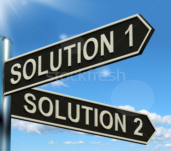 Foto d'archivio: Soluzione · scelta · strategia · opzioni · segno