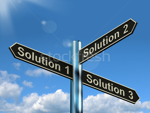 Stock photo: Solution 1 2 or 3 Choice Showing Strategy Options Decisions Or S