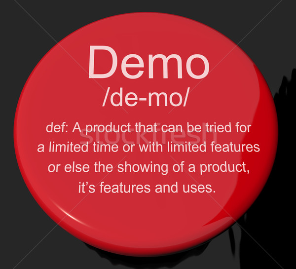 Demo Definition Button Showing Demonstration Of Software Applica Stock photo © stuartmiles
