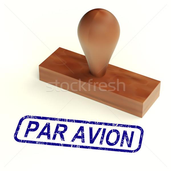 Par Avion Rubber Stamp Shows Correspondence Overseas By Airplane Stock photo © stuartmiles