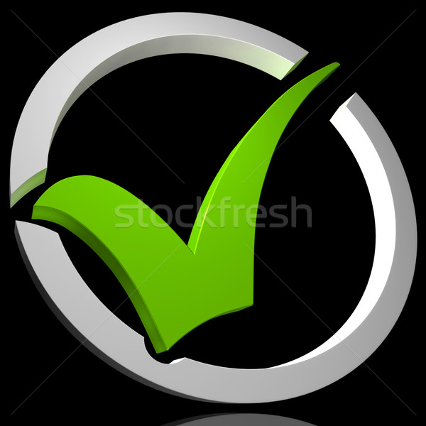 Green Tick Circled Shows Quality And Excellence Stock photo © stuartmiles