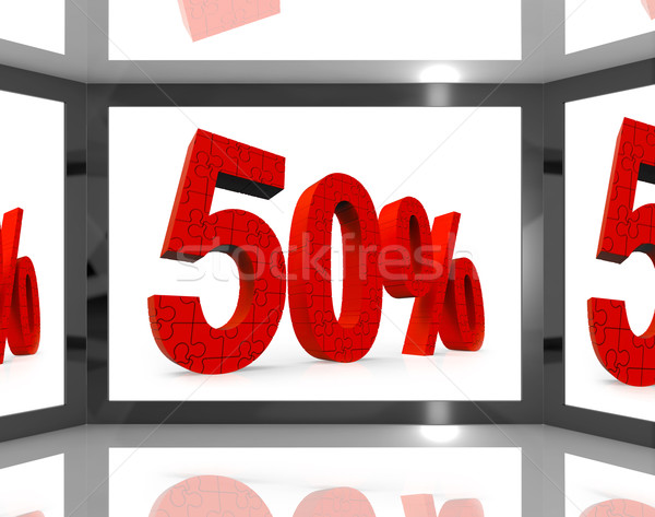 50 On Screen Showing Discount On Televisions And Price Reduction Stock photo © stuartmiles