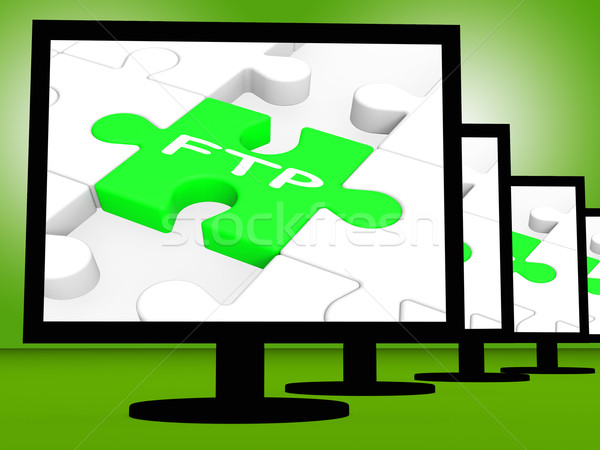 FTP On Monitors Showing Files Transfer Stock photo © stuartmiles