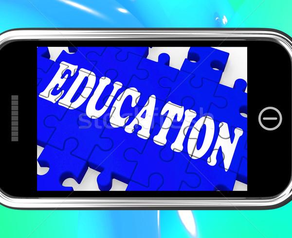 Education On Smartphone Showing University Studies Stock photo © stuartmiles