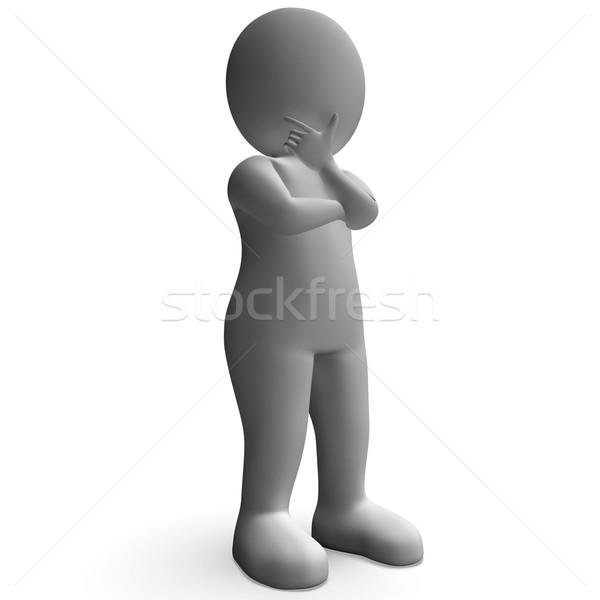 Karakter gondolkodik adatbázis kétség zavarodottság gondolkodik Stock fotó © stuartmiles