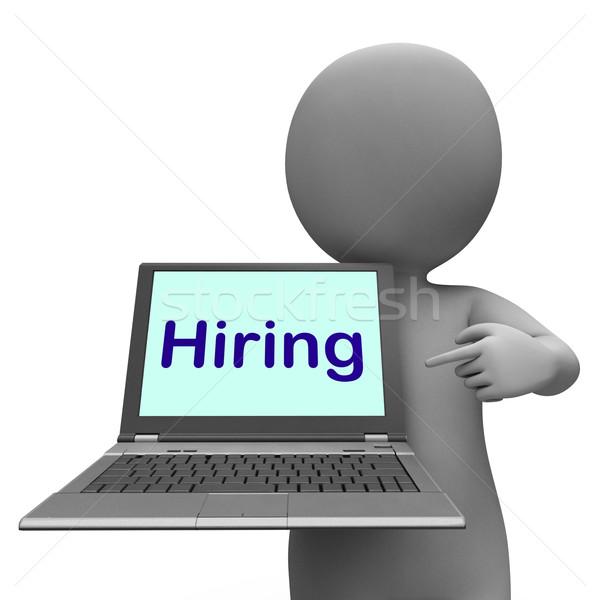Hiring Laptop Message Shows Web Hire Employment Stock photo © stuartmiles