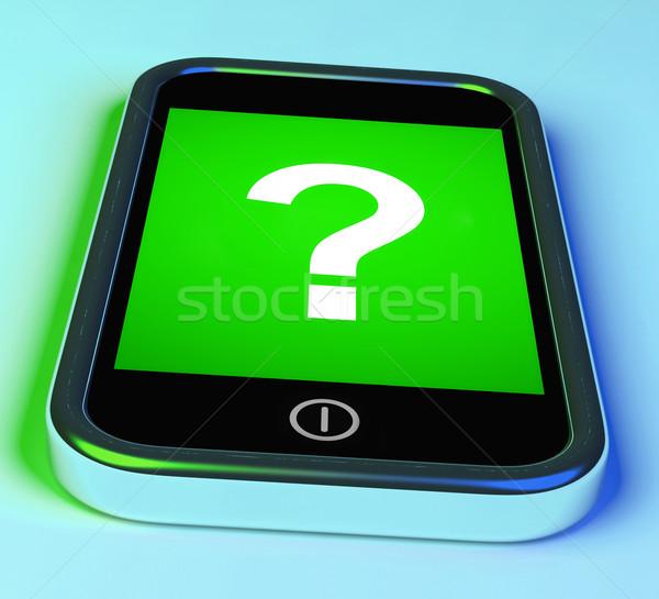 Fragezeichen Telefon helfen verwechselt Zweifel Stock foto © stuartmiles