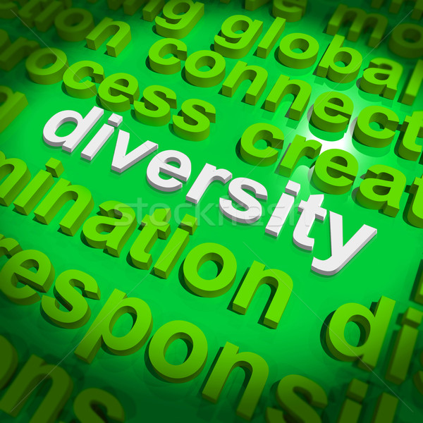 Diversity Word Cloud Shows Multicultural Diverse Culture Stock photo © stuartmiles