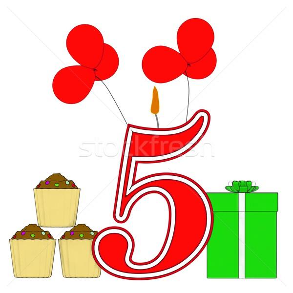 Número cinco vela cuarto cumpleanos nacimiento Foto stock © stuartmiles