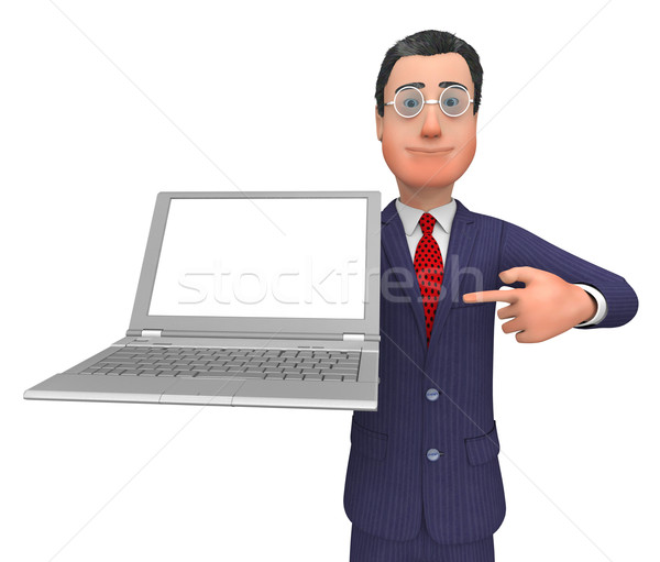 Businessman Presenting Means Empty Space And Biz Stock photo © stuartmiles