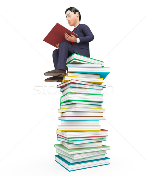 Businessman Reading Books Means Textbook Commercial And Learning Stock photo © stuartmiles