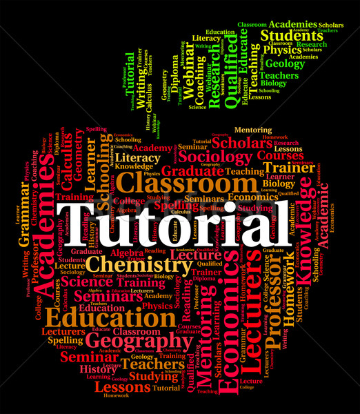 Tutorial Word Represents Online Tutorials And Develop Stock photo © stuartmiles