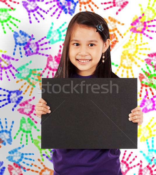 Stockfoto: Jonge · vrolijk · meisje · boord · muur · gekleurd
