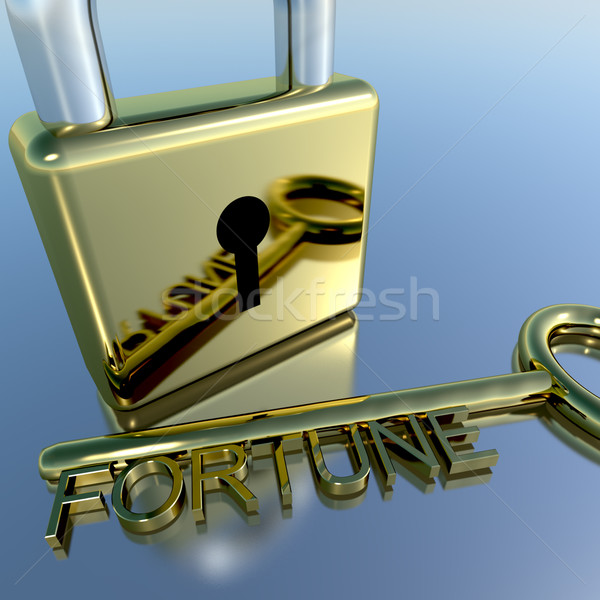 Padlock With Fortune Key Showing Luck Success And Riches Stock photo © stuartmiles