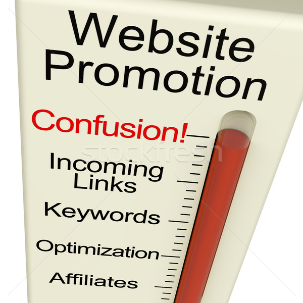 Website Promotion Confusion Shows Online SEO Strategy And Develo Stock photo © stuartmiles
