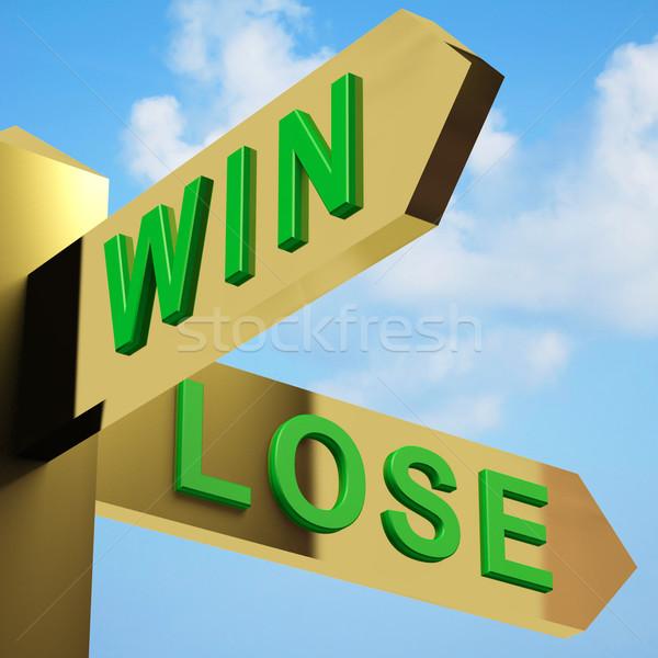 Vincere perdere indicazioni cartello ottone segno Foto d'archivio © stuartmiles