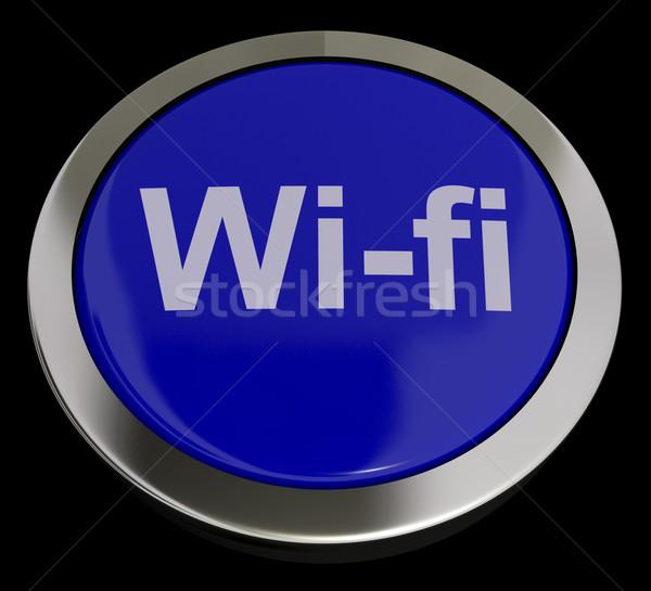 Stok fotoğraf: Mavi · wifi · düğme · Internet · bağlantı