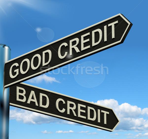 Stock photo: Good Bad Credit Signpost Showing Customer Financial Rating