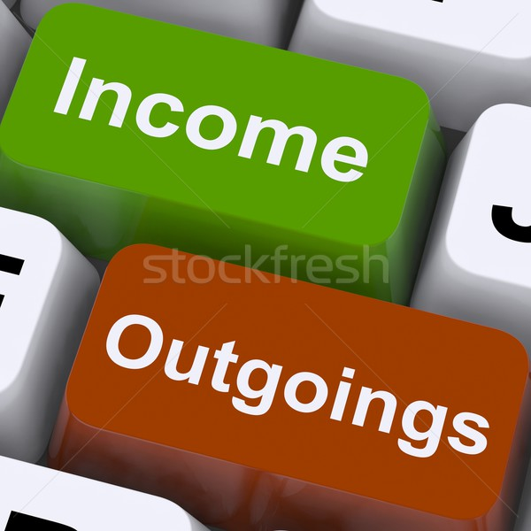 Income Outgoings Keys Show Budgeting And Bookkeeping Stock photo © stuartmiles