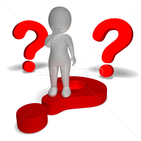 Question Marks Around Man Shows Confusion And Unsure Stock photo © stuartmiles