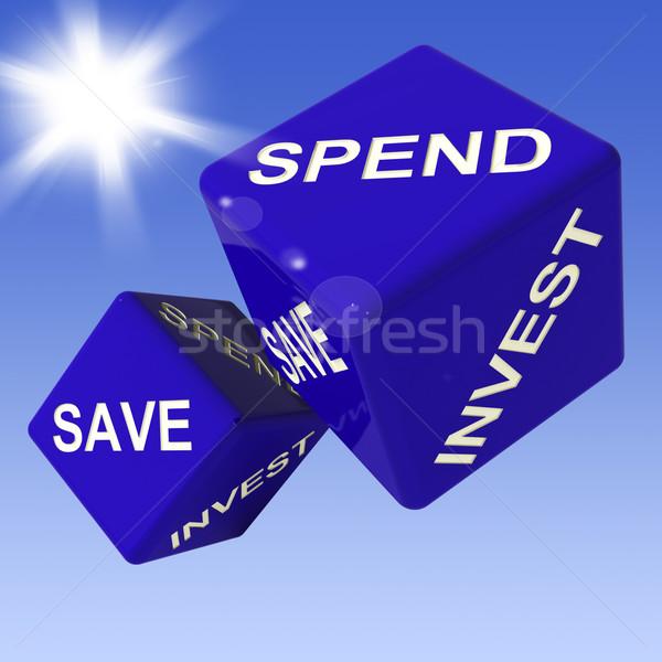 Mentés kocka mutat költségvetést készít befektetés pénzügy Stock fotó © stuartmiles