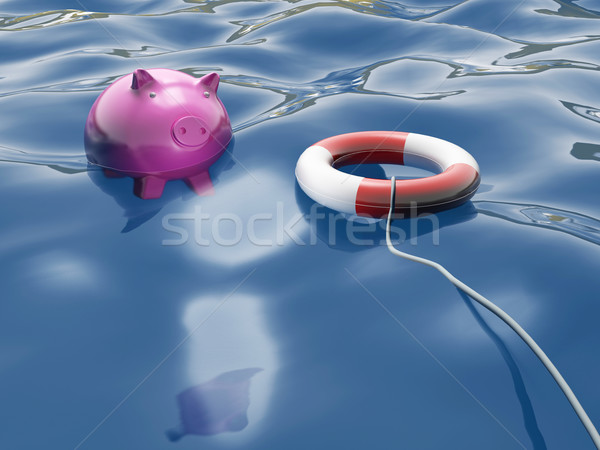 Piggy With Lifebuoy Shows Lifesaver And Investment Stock photo © stuartmiles