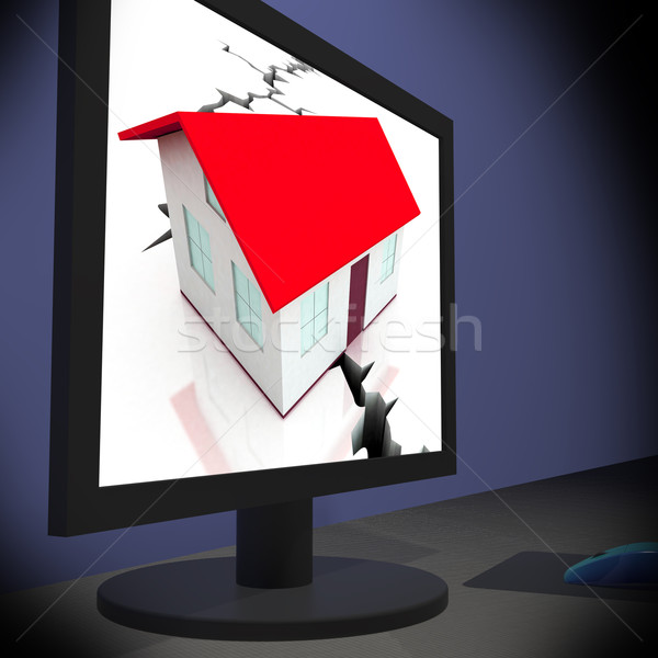 Cracked Foundations On Monitor Shows Crumbling House Stock photo © stuartmiles