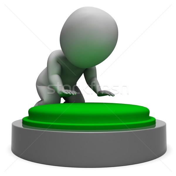 Pushing Green Button Showing Start Stock photo © stuartmiles