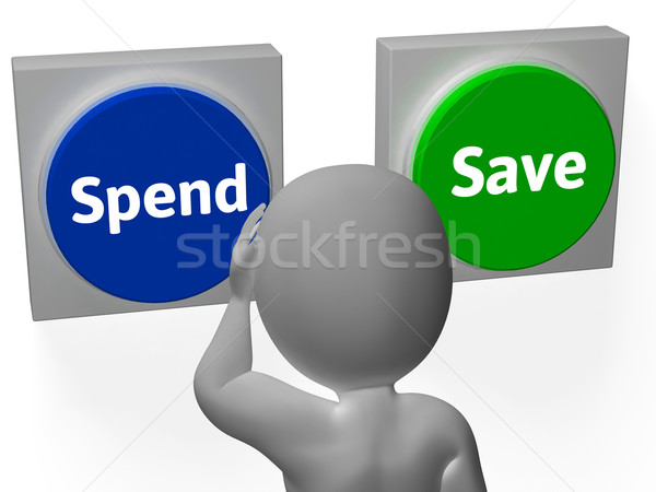 Spend Save Buttons Show Buy Budget Or Saving Stock photo © stuartmiles