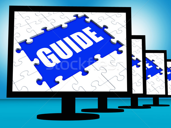 Guide Screen Shows Helping Organizer Or Guidance Stock photo © stuartmiles