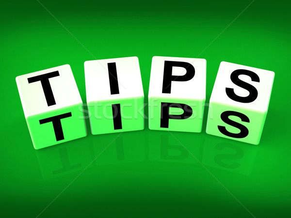 Tips Blocks Mean Hints Suggestions and Advice Stock photo © stuartmiles