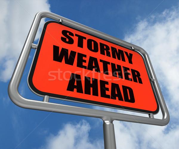 бурный погода впереди знак Storm предупреждение Сток-фото © stuartmiles