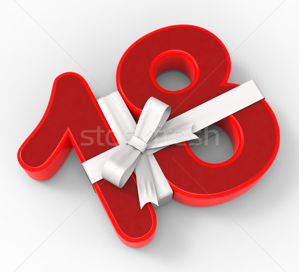 Number Eighteen With Ribbon Means Special Event Or Happy Celebra Stock photo © stuartmiles