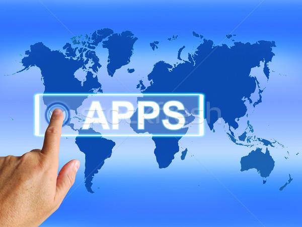 ストックフォト: アプリ · 地図 · インターネット · 世界的な · アプリケーション