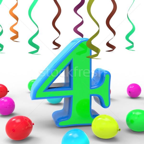 Number Four Party Means Colourful Birthday Party Or Celebration Stock photo © stuartmiles