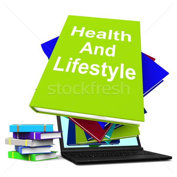 здоровья жизни книга ноутбука Здоровый образ жизни Сток-фото © stuartmiles