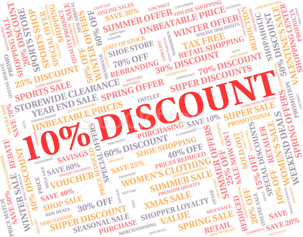 Ten Percent Off Represents Discounts Reduction And Clearance Stock photo © stuartmiles