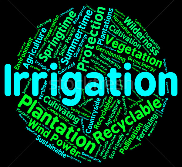 Irrigation Word Shows Sprinkle Irrigating And Words Stock photo © stuartmiles