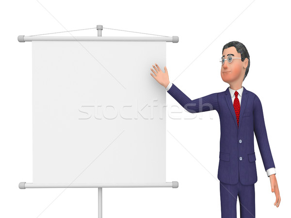 Businessman Presenting Shows Text Space And Biz Stock photo © stuartmiles