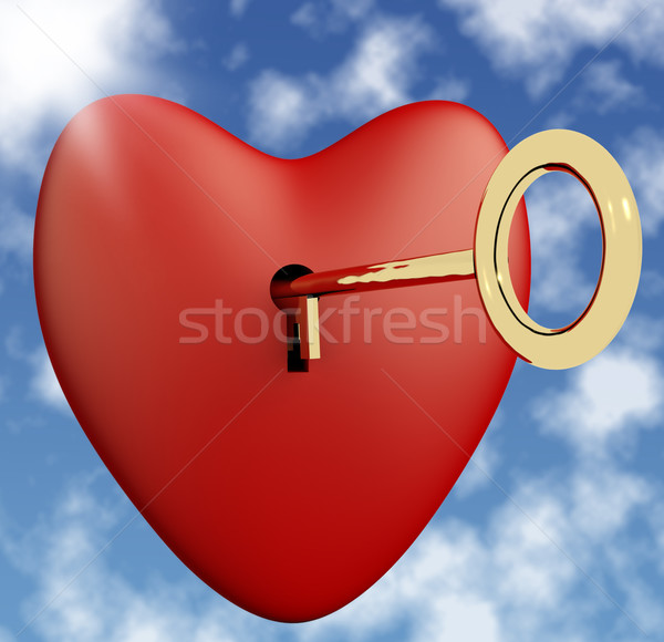 Heart With Key And Sky Background Showing Love Romance And Valen Stock photo © stuartmiles