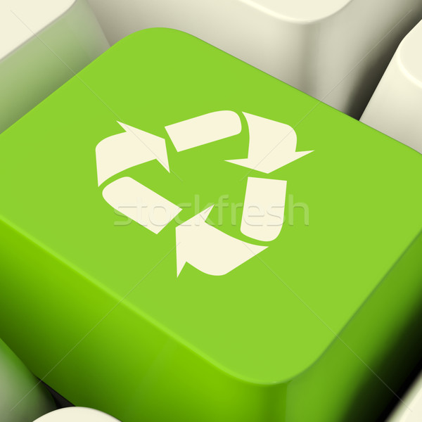 Recycle Computer Key In Green Showing Recycling And Eco Friendly Stock photo © stuartmiles