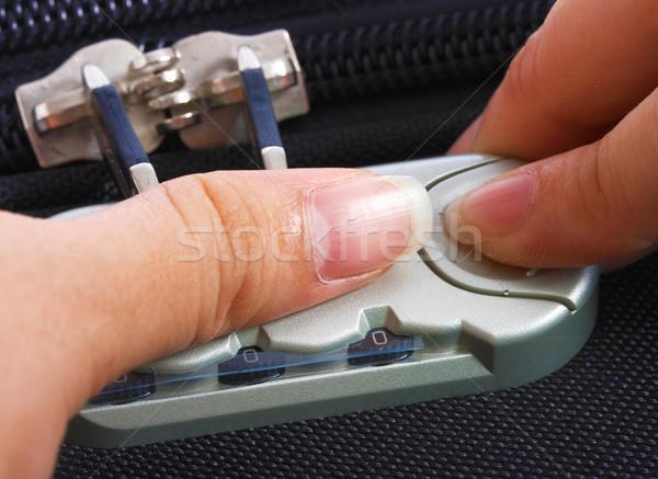 Serrure à combinaison valise sécurité sac cuir sûr Photo stock © stuartmiles